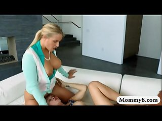 Stepmom and teen girl sharing cumload after having sex