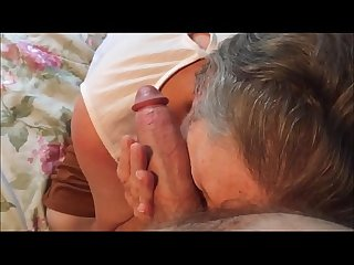 Amateur blowjob and cumshot for old lady