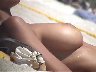Debora bello topless at the beach