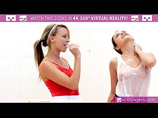 VRBangers.com DILLION and PRISTINE SCISSORING after NAKED Racquetbal