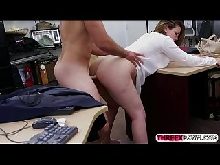 Naturally Busted office blonde sells her body at an X rated pawn shop