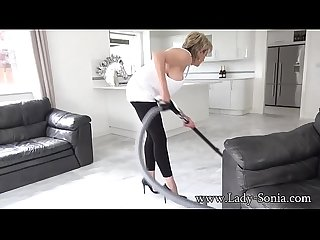 Big tit mature Lady Sonia cleaning and nipple torture