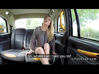 Skinny legs blonde bangs in fake taxi