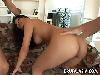 Thai asian cuttie has a double decker on her ass