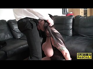 Busty bimbo gagging while deepthroating dick