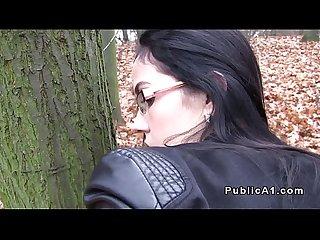 Amateur sucks fake agents cock outdoors