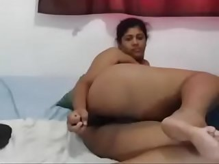 Huge Tit Latina BBW does DP with two Dildos