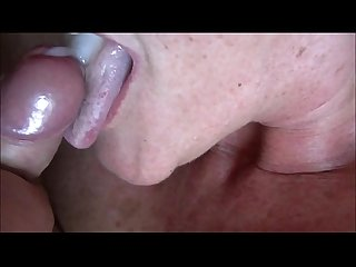 Cumming into granny S mouth closeup