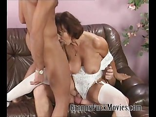 Granny ann fucks two horny studs