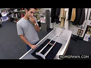 Hardcore gay bareback for one lucky customer in the pawnshop in exchange of cash