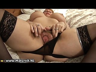 Big tits mature mom with black stockings