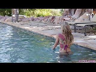 Inked girl using the neighbor's pool # Carter Cruise and Kali Roses