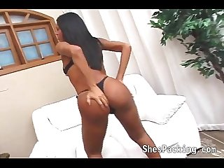 Black shemale in a hot anal action