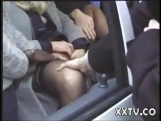 Slut in the public park with several men