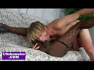Bigtitted black trap cockriding after blowjob