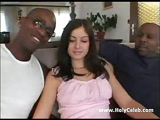 Lucy riding 2 black cocks