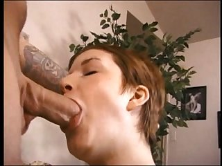 short haired burnette gets anal