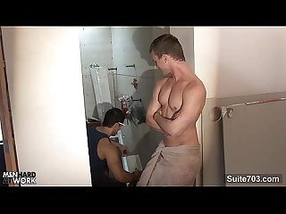 Sexy gay worker getting fucked and jizzed