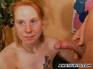 Redhead amateur girlfriend sucks and fucks with facial