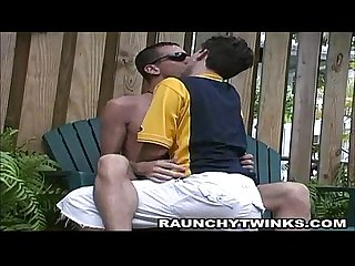 Horny brunette twinks backyard makeout