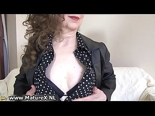Brunette mature mom with sexy black