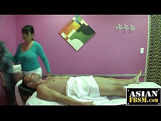 Mika tan gives a massage and blowjob