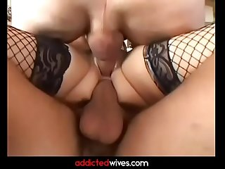 Whore wife getting all her holes filled with long hard cock