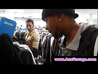 Man gives black gay bro a blowjob in dressing room