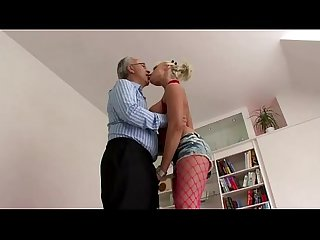Older british guy and blonde slut in fishnet tights