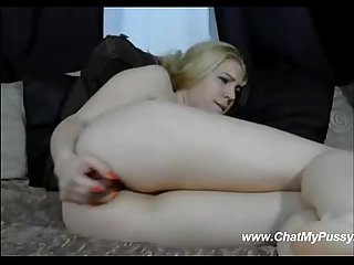 Blonde Dildo masturbating her Ass on webcamchat chatmypussy period com