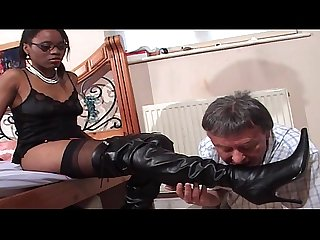 Faceful of black pussy for older white gent