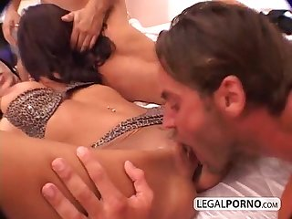 Two Hot brunettes in a foursome with two large cocks gb 1 02