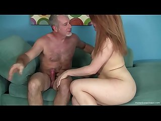 Chubby redhead amateur wants his old man dick