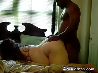 Black guy gives it to fat chick in the butt