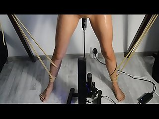 Florane Russell is tied up oiled and used by fuck machine