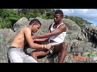 Brown-skinned Latin twinks pop a boner outdoors
