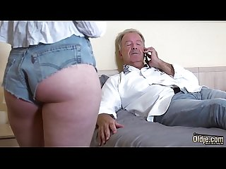 Teen blonde grabs grandpa's cock and sucks it deepthroat