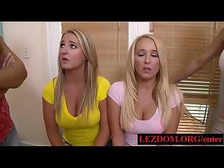 Poor lesbian sorority girls forced to suck cock in front of other girls - lezdom