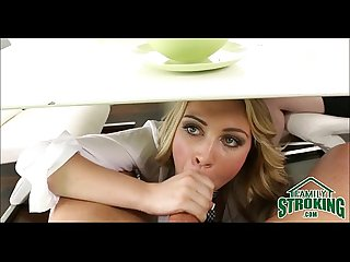 Sucking daddy S cock under table in front of mom cali sparks pov