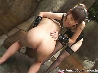 Poor slave undergoes enema and continuous spanking