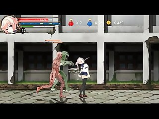 Hentai game ryona fighting girl mei gameplay teen girl in sex with aliens
