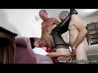 Sexy schoolgirl fucked by two old men