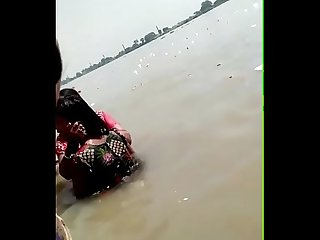 Desi village river bathing
