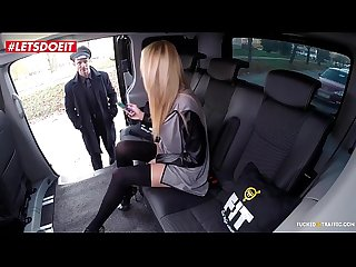 Blonde teen fucked in taxi