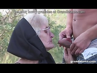 Very old granny blowjob with no teeth and hairy pussy