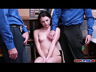 Teen babe Megan pounded by two horny officers