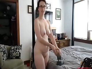 Caught mom masturbating on the big bed