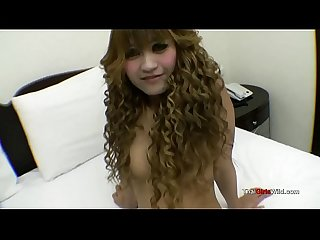 Curly hairded thai hooker stuff a big cock in her little cunt