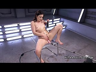 Hairy cunt brunette fucks machine and huge dildo