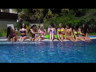Wild lesbian teen pool party